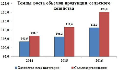 Рисунок 6. Динамика изменения производства продукции сельского хозяйства в Российской Федерации за 2013-2016 г.г. (накопительным итогом), %