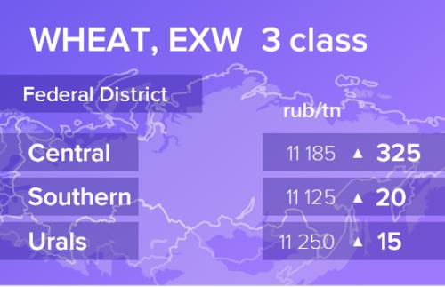 Пшеница. Цены EXW. Россия. Данные на 02.12.2019