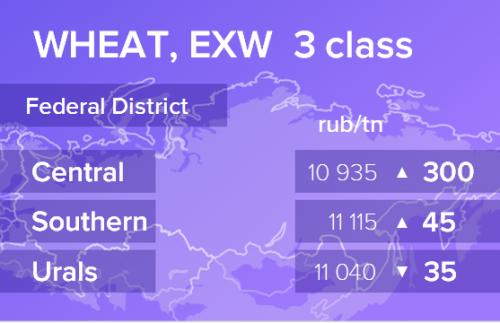 Пшеница. Цены EXW. Россия. Данные на 16.12.2019