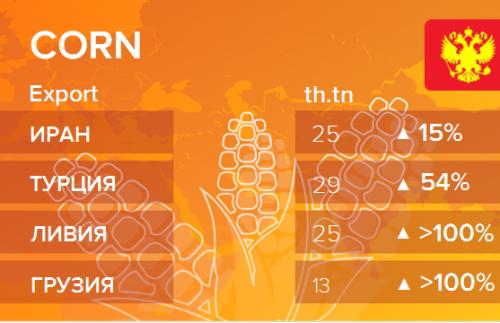 Росстат. Экспорт кукурузы из России на январь 2020