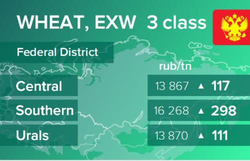 Пшеница. Цены EXW в России на 3 ноября 2020