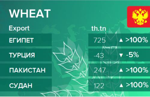 Росстат. Экспорт пшеницы из России на октябрь 2020