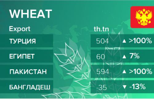Росстат. Экспорт пшеницы из России на ноябрь 2020