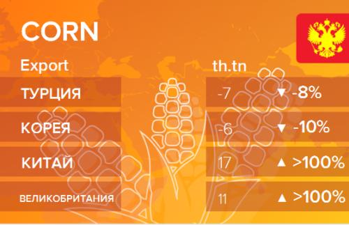Росстат. Экспорт кукурузы из России на ноябрь 2020